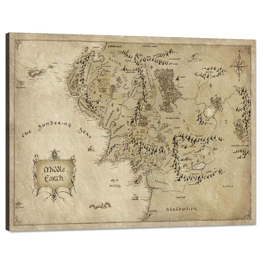 map of middle earth poster