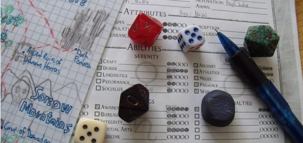 4 dice with paper and DM character sheet